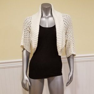 Say What? Knit Shrug White & Gold {One Size} NWOT